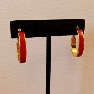Monet Red and Gold Tone Oval Earrings Vintage